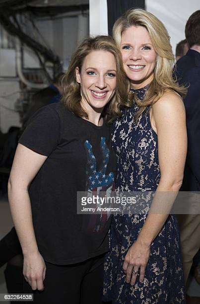 Jessie Mueller and Kelli O'Hara attend Concert For America Stand Up Sing Out at Town Hall on January 20 2017 in New York City