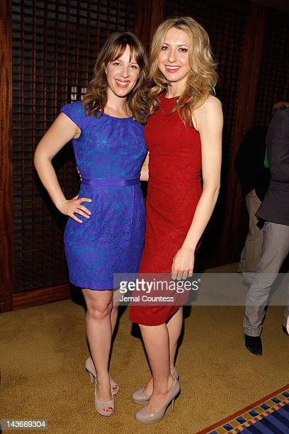 Jessie Mueller and Laura Osnes attend the 2012 Tony Awards Meet The Nominees Press Reception at Millennium Broadway Hotel on May 2 2012 in New York...