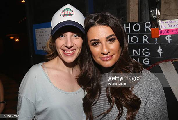 Jessie Mueller and Lea Michele pose backstage at the hit musical Waitress on Broadway at The Brooks Atkinson Theatre on November 6 2016 in New York...