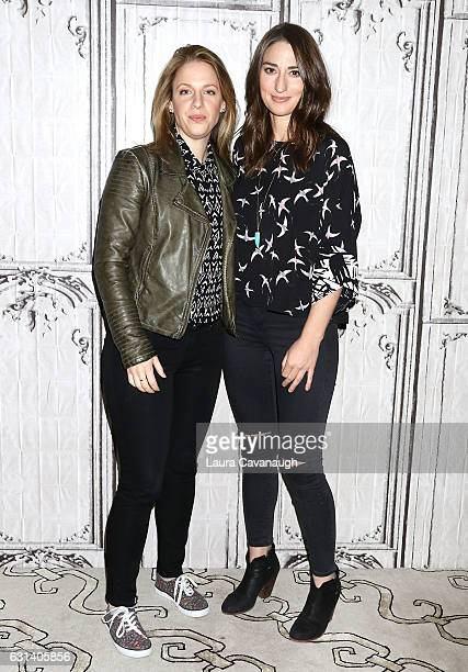 Jessie Mueller and Sara Bareilles attend Build Presents to discuss Waitress at AOL HQ on January 10 2017 in New York City