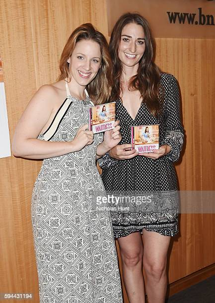 Jessie Mueller and Sara Bareilles from the cast of Cast of Waitress performs songs from the Original Broadway Cast Recording at Barnes Noble 86th...