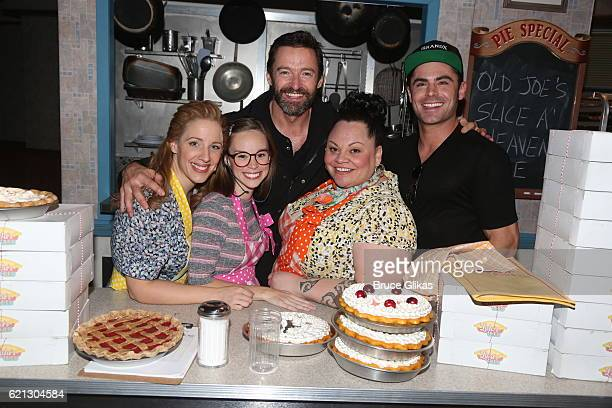 Jessie Mueller Caitlin Houlahan Hugh Jackman Keala Settle and Zac Efron pose backstage at the hit musical Waitress on Broadway at The Brooks Atkinson...