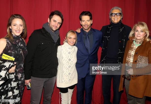 Jessie Mueller, Josh Bryant, Kristin Chenoweth, Harry Connick Jr, Tommy Tune and Candice Bergen pose backstage after the opening night performance of...