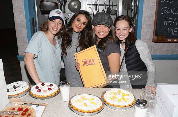 Jessie Mueller Lea Michele Jenna Ushkowitz and Caitlin Houlahan pose backstage at the hit musical Waitress on Broadway at The Brooks Atkinson Theatre...