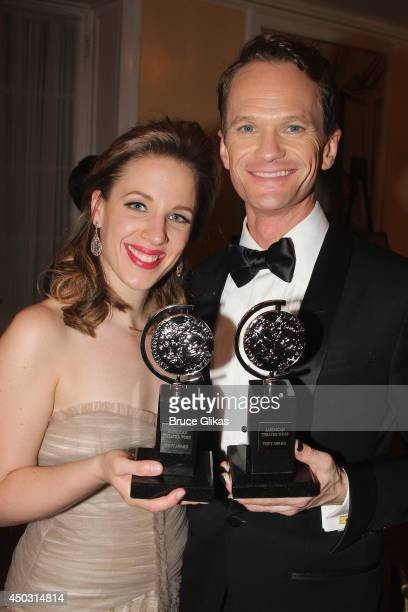 Jessie Mueller winner of the award for Best Performance by an Actress in a Leading Role in a Musical for 'Beautiful' and Neil Patrick Harris winner...