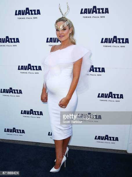 Jessie Murphy poses at the Lavazza Marquee on Oaks Day at Flemington Racecourse on November 9 2017 in Melbourne Australia