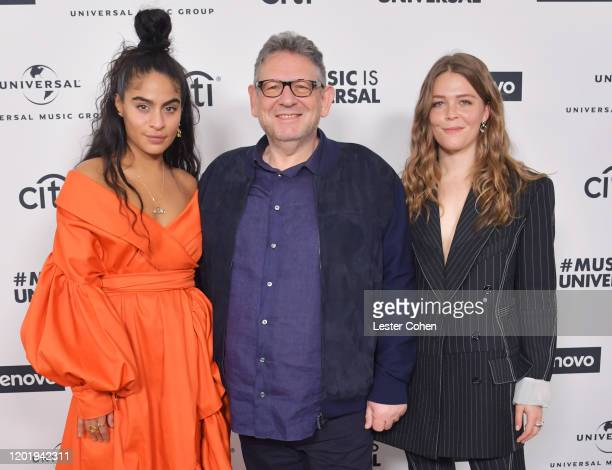 Jessie Reyez, Sir Lucian Grainge and Maggie Rogers attend Sir Lucian Grainge's 2020 Artist Showcase Presented By Citi and Lenovo at Milk Studios on...