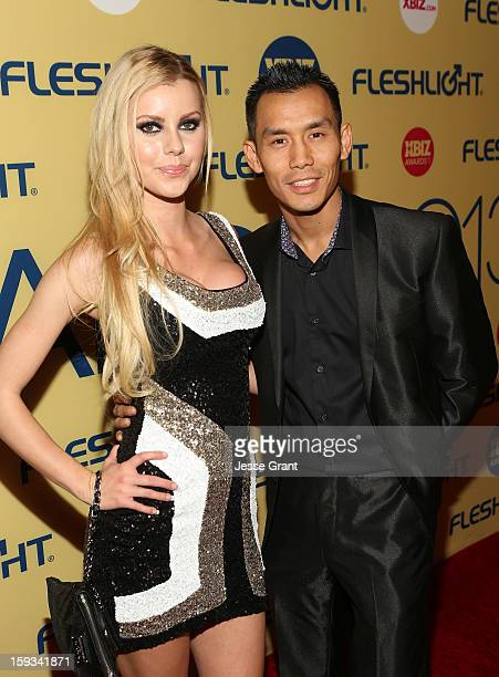 Jessie Rogers and Keni Styles attend the 2013 XBIZ Awards at the Hyatt Regency Century Plaza on January 11 2013 in Los Angeles California