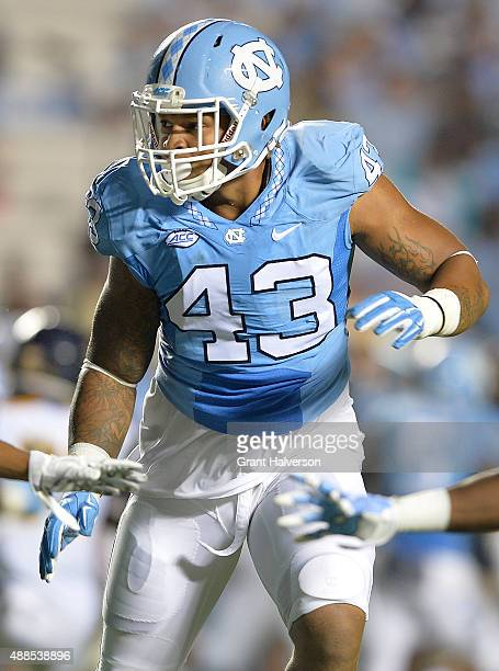 Jessie Rogers of the North Carolina Tar Heels against the North Carolina AT Aggies during their game at Kenan Stadium on September 12 2015 in Chapel...