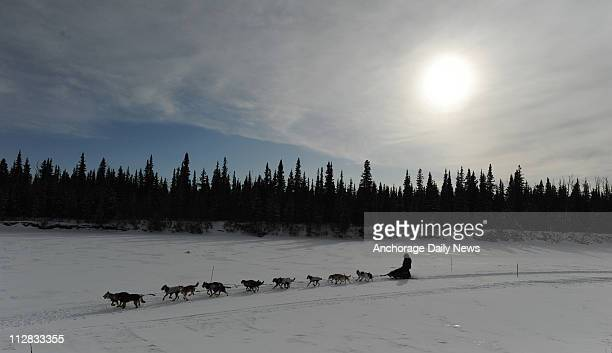 Jessie Royer arrives in Nikolai Alaska on Tuesday March 9 during the 2010 Iditarod Sled Dog Race