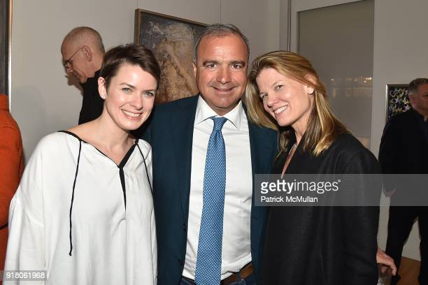 Jessie Saunder JP Conte and Jennifer Rhodes attend Neil Grayson Industrial Melanism solo exhibition at Eykyn Maclean Gallery on February 13 2018 in...