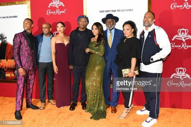 Jessie T Usher Tim Story Alexandra Shipp Samuel L Jackson Regina Hall Richard Roundtree Luna Lauren Velez and Kenya Barris attend the Shaft premiere...