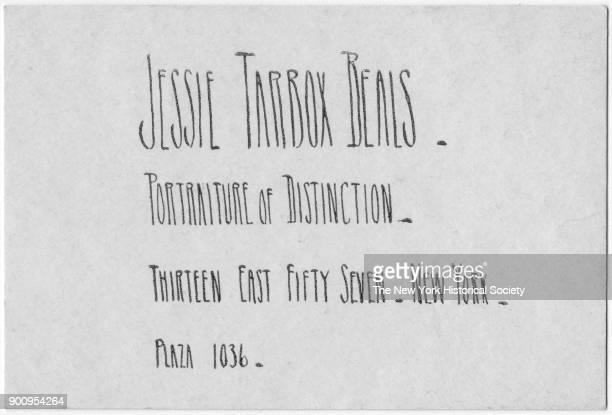 Jessie Tarbox Beals' handlettered business card 1931