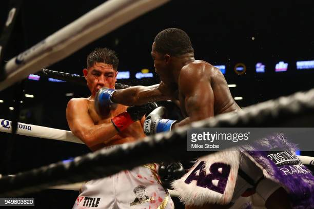 Jessie Vargas punches Adrien Broner during their Welterweight bout at Barclays Center on April 21 2018 in New York City