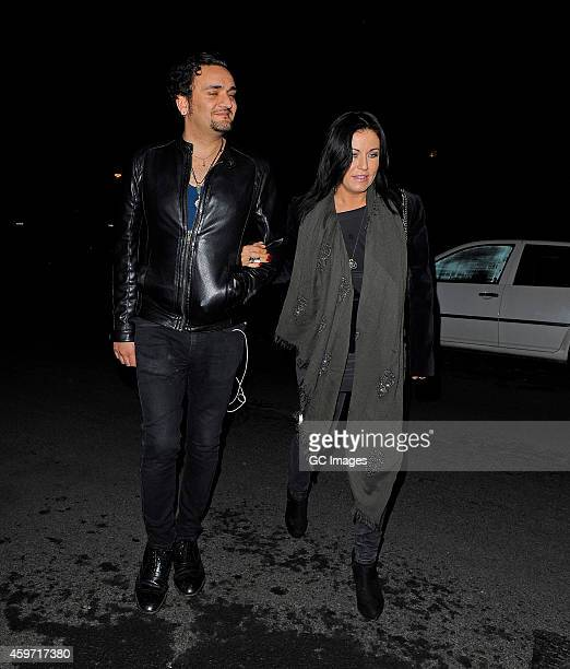 Jessie Wallace and her boyfriend Tim Arnold enjoy a night out at the theatre to see Snow White on November 29 2014 in London England