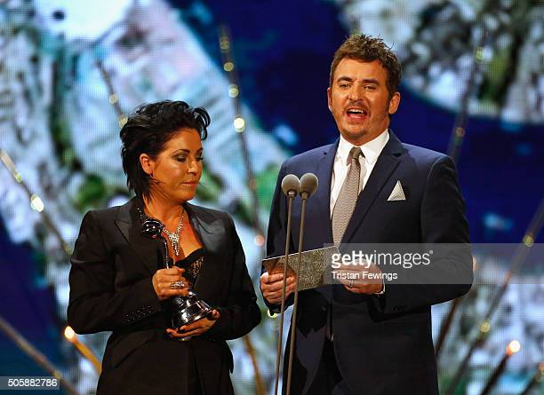 Jessie Wallace and Shane Richie present the award for Best Comedy at the 21st National Television Awards at The O2 Arena on January 20 2016 in London...