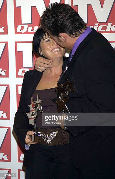 Jessie Wallace and Shane Ritchie with their awards for Best Soap Actress and Best Soap Newcomer at the TV Quick awards at the Dorcester Hotel on...