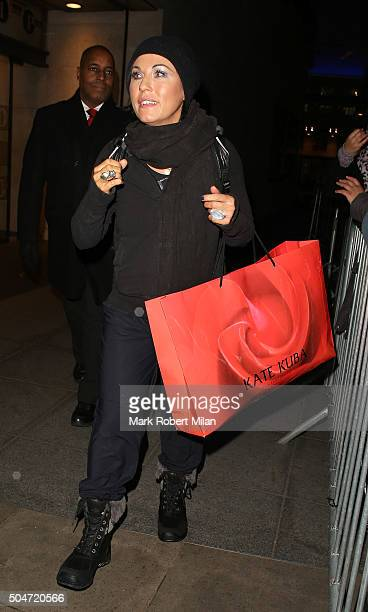 Jessie Wallace leaving the BBC Broadcasting House after appearing on the One show on January 12 2016 in London England