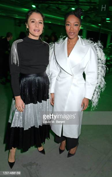 Jessie Ware and Naomi Ackie attend the Christopher Kane show during London Fashion Week February 2020 at The Mail Centre on February 17 2020 in...