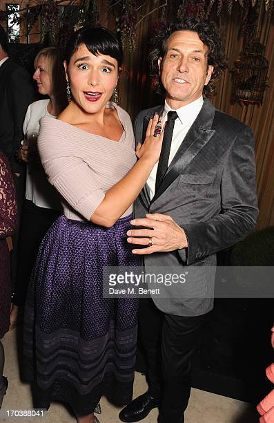 Jessie Ware and Stephen Webster attend the Dom Perignon Rose 2002 Dark Jewel launch with Stephen Webster at The Connaught Hotel on June 12 2013 in...