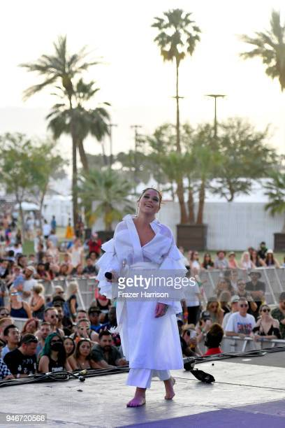 Jessie Ware performs onstage during the 2018 Coachella Valley Music and Arts Festival Weekend 1 at the Empire Polo Field on April 15 2018 in Indio...