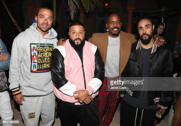 Jessie Williams DJ Khaled guest and Jerry Lorenzo attend The Four cast Sean Diddy Combs Fergie and Meghan Trainor Host DJ Khaled's Birthday Presented...