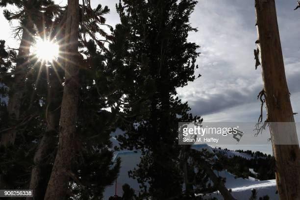 Jessika Jenson competes in the qualifying round of the Ladies' Snowboard Slopestyle during the Toyota US Grand Prix on on January 17 2018 in Mammoth...