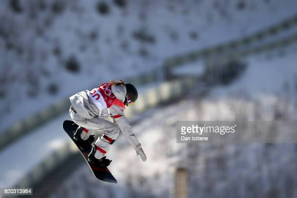 Jessika Jenson of the United States takes part in a practice session during the Snowboard Ladies' Big Air Qualification on day 10 of the PyeongChang...
