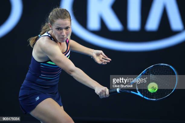 Jessika Ponchet of France plays a backhand in her first round match against Garbine Muguruza of Spain on day two of the 2018 Australian Open at...