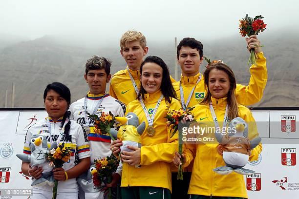 Jessika Riascos John Rodriguez of Colombia and Andre Gohr Ana Paula Casetta Renata Da Silva and Rodrigo Dos Santos pose for a photo after winning the...
