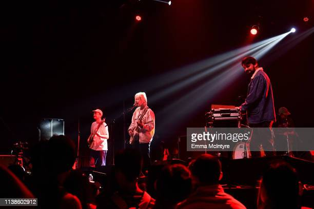 Jessy Caron, Emmanuelle Proulx, and Dragos Chiriac of Men I Trust perform at Sonora Stage during the 2019 Coachella Valley Music And Arts Festival on...