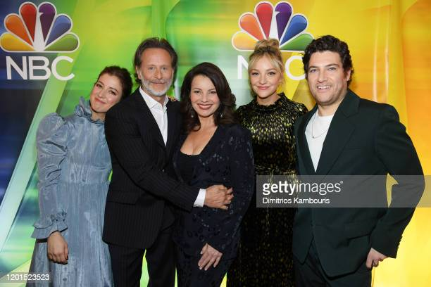 """Jessy Hodges, Steven Weber, Fran Drescher, Adam Pally and Abby Elliott from """"Indebted"""" attend the NBC Midseason New York Press Junket at Four Seasons..."""