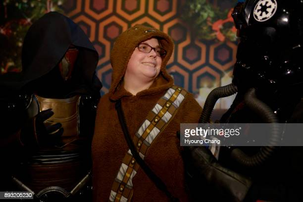 Jessy Pace of Chewbacca center captured by Sara Gurnett of Darth Revan left and Tori Smith of TIE pilot at Alamo Drafthouse Cinema in Denver Star...