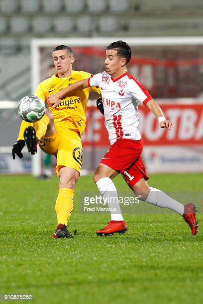 Jessy Pi of Brest and Amine Bassi of Nancy during the Ligue 2 match between Nancy and Brest on January 26 2018 in Nancy France