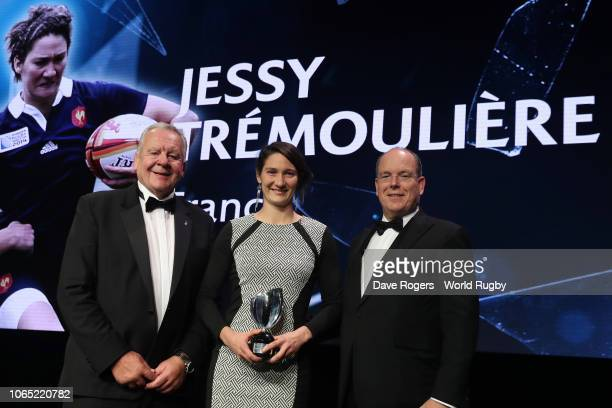 Jessy Tremouliere of France receives the World Rugby via Getty Images Women's 15s Player of the Year award in association with Mastercard from Bill...