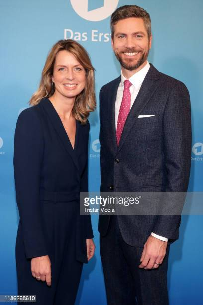 Jessy Wellmer and Ingo Zameproni attend the Das Erste Annual Press Briefing on December 3 2019 in Hamburg Germany