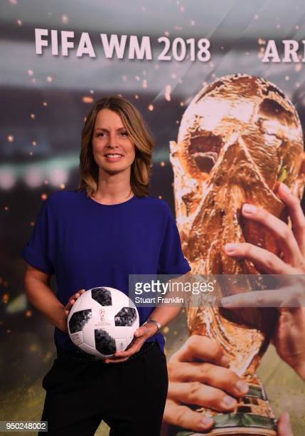 Jessy Wellmer poses for a picture during the ARD and ZDF FIFA World Cup presenter team presentation on April 23, 2018 in Hamburg, Germany.