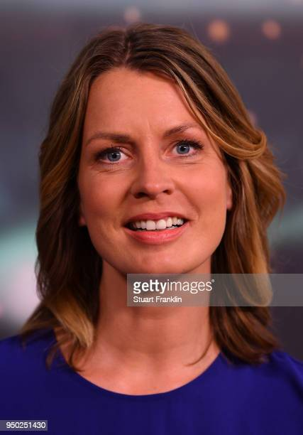 Jessy Wellmer poses for a picture during the ARD and ZDF FIFA World Cup presenter team presentation on April 23 2018 in Hamburg Germany