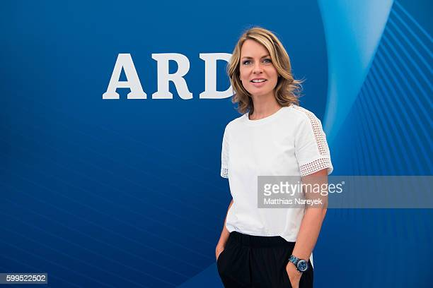 Jessy Wellmer visits the ARD stand at 2016 IFA tech fair on September 2 2016 in Berlin Germany