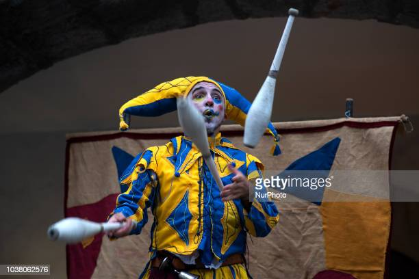 A jester juggles through the streets of the town of Laredo Cantabria Spain on 22 September 2018 during the historical representation of the last...