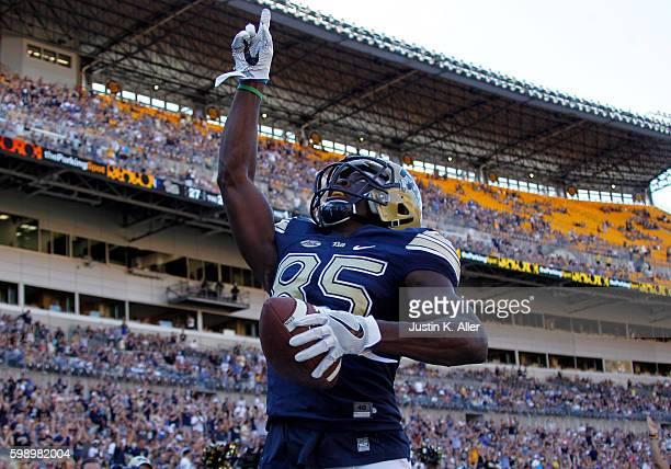 Jester Weah of the Pittsburgh Panthers reacts after catching a 16 yard pass for a touchdown in the second half during the game against the Villanova...