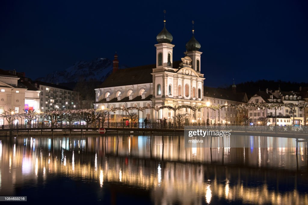 Jesuit church in Lucerne, Christmas time, Switzerland : Stock Photo