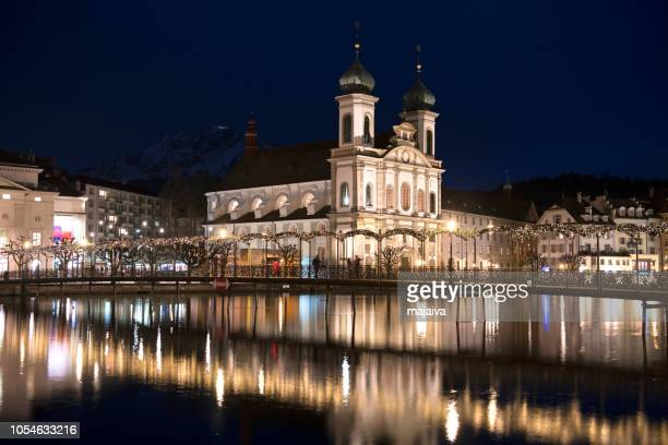 Jesuit church in Lucerne, Christmas time, Switzerland