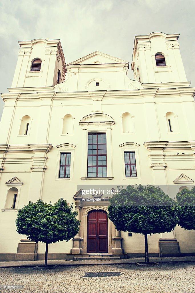 Jesuit church in Skalica, Slovak republic, retro photo filter : Stock-Foto