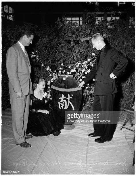 Jesuit priest at Loyola, 28 September 1952. Jess Ivers;June Haver;Reverend William D Ryan;Mrs Frank Lovejoy.;Caption slip reads: 'Photographer:...