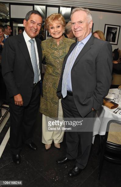 Jesus Adorno Angela Rippon and Lord Jeffrey Archer attend the launch of John Swannell's photography exhibition at Le Caprice on February 5 2019 in...
