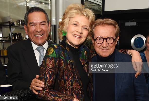Jesus Adorno Dame Fiona Shackleton and John Swannell attend the launch of John Swannell's photography exhibition at Le Caprice on February 5 2019 in...
