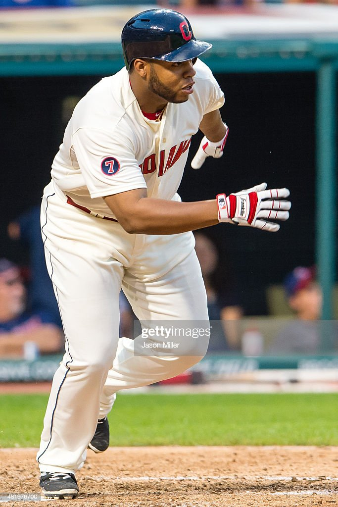 Jesus Aguilar #36 Cleveland Indians hits an RBI single during the fifth inning against the Chicago White Sox at Progressive Field on July 25, 2015 in Cleveland, Ohio.