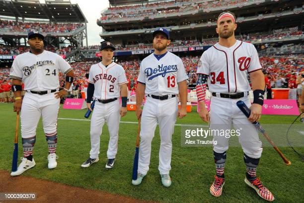 Jesus Aguilar of the Milwaukee Brewers Alex Bregman of the Houston Astros Max Muncy of the Los Angeles Dodgers and Bryce Harper of the Washington...
