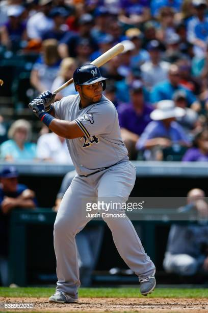 Jesus Aguilar of the Milwaukee Brewers bats during a game against the Colorado Rockies at Coors Field on August 20 2017 in Denver Colorado